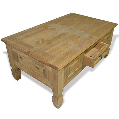 Tidyard Table Basse avec 1 Tiroir en Bois de Pin Mexicain pour Salon 100 x 60 x 45 cm