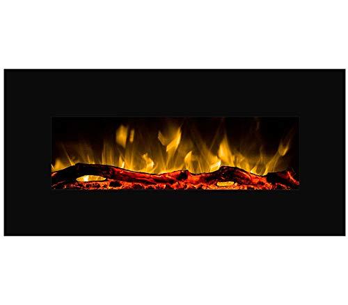 GLOW FIRE Pluto Elektrokamin mit Heizung, Wandkamin mit LED | Künstliches Feuer mit zuschaltbarem Heizlüfter: 750/1500 W | Fernbedienung, 110 cm, Schwarz