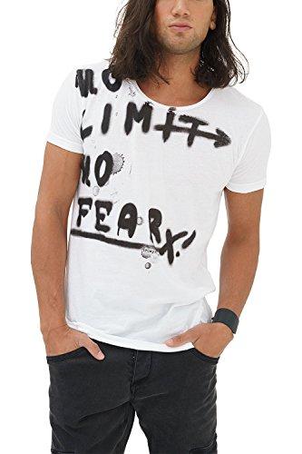 trueprodigy Casual Herren Marken T-Shirt Aufdruck Oberteil Cool Stylisch Rundhals Kurzarm Slim Fit Shirt Männer Bedruckt, Größe:XXL, Farben:Weiß