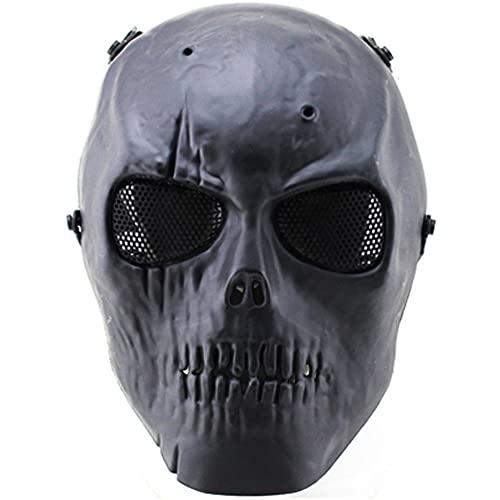 AQzxdc Mens Skull Paintball Mask, Full Face Paintball Tactical Metal Mesh Eye Protectical Maschere Traspiranti, per Halloween Paintball Cosplay Party BBS Shooting Masquerade Ball,Nero