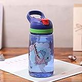 Mdsfe Botella Deportiva 450ml Botella de Agua para niños con Pajita Niños Botella de Agua para Botellas de Agua Botella portátil de plástico - Jirafa Azul
