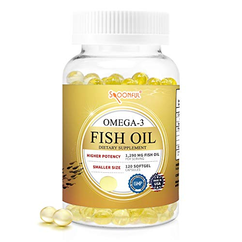 Spoonful Omega 3 Mini Fish Oil, 1290 mg Per Serving, 120 Softgels, Easy to Swallow Capsules for Women and Seniors, Made in USA