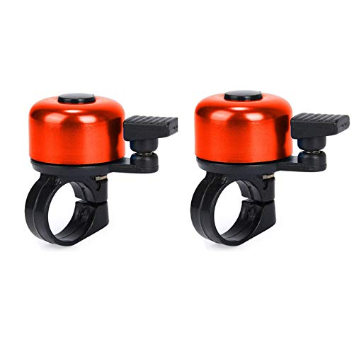 BBQQ 2pcs Superior Bike Bell, Brass Bicycle Bell, Clear Noticeable Sound Bike Bells for Adults (Red)