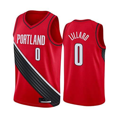 LSJ-ZZ Jersey Men's NBA Portland Trail Blazers # 0 Damian Lillard Retro Bordado Malla Baloncesto Ropa de Entrenamiento, Unisex Sin Mangas Tshirt Chaleco,Rojo,XL