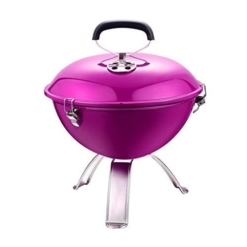SN Holzkohlegrill Outdoo, Rundgrill Holzkohlegrill Dreibein Glutwanne Emailiert Für Garten Camping Party Grillfläche (Color : Pink)