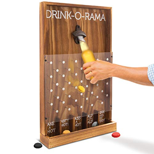 Refinery and Co. Drink-O-Rama Bottle Cap Drinking Game, Rustic Wood Wall Mount Bottle Opener, The Party Game of Chance! Drop Game Decides Your Fate, Perfect Gift for His Her Adult Birthday