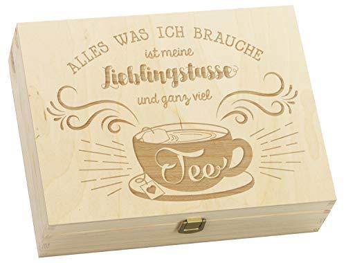 LAUBLUST Große Teekiste mit Lieblingstasse Gravur - ca.30x23x8cm, Natur, FSC® - Holz-Teebox 12 Fächer & Metall-Verschluss | Aufbewahrungskiste | Teebeutel-Spender | Küchenbox für Teeliebhaber