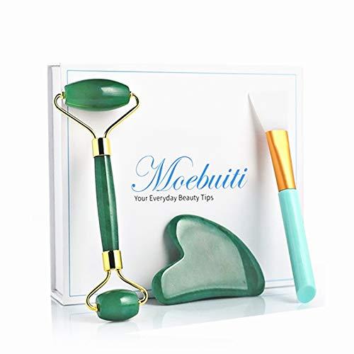 Moebuiti Jade Roller Natürliche Hautpflege-Tools, Jade Roller Massagegerät, 3 in 1 Anti Aging Jade Gesichts Roller mit Gua Sha und Maskenpinsel, Green Beauty Gesichtsmassage Stein Set