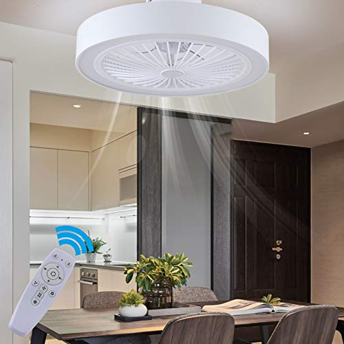 Modern LED Ceiling Light with Fan, 72W Dimmable Ceiling Fan Lights with Remote Control, Adjustable Wind Speed, Fan Lighting for Living Room,Dining Room,Bedroom,Hallway Office,3000-6000K
