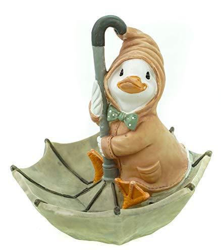 Unbekannt Wetter Ente auf Regenschirm pastellbraun 19cm Garten Tier Figur