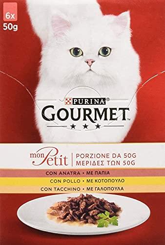Purina Gourmet Mon Pett - Húmedo para Gato, elección Deliciosa con Carnes delicadas con Pato, Pollo y Pavo, 48 Sobres de 50 g Cada uno (8 Paquetes de 6 x 50 g)
