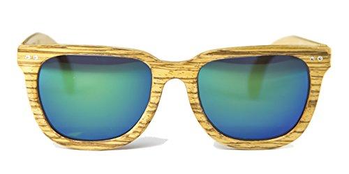 Gafas de madera Charles Zebrano Lente Verde Espejo - FELER