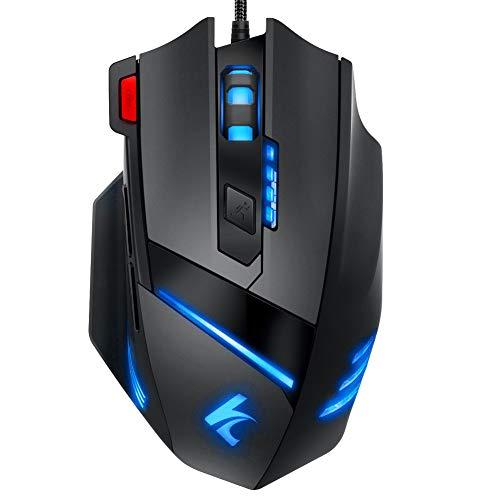 Wired Gaming Maus LED Mäuse - PC Gaming Mouse Hohe Präzision mit 7 programmierbaren Tasten, RGB Ergonomisches Professionelle Optische USB Maus Für Laptop PC Mac Computer Mice(Schwarz)