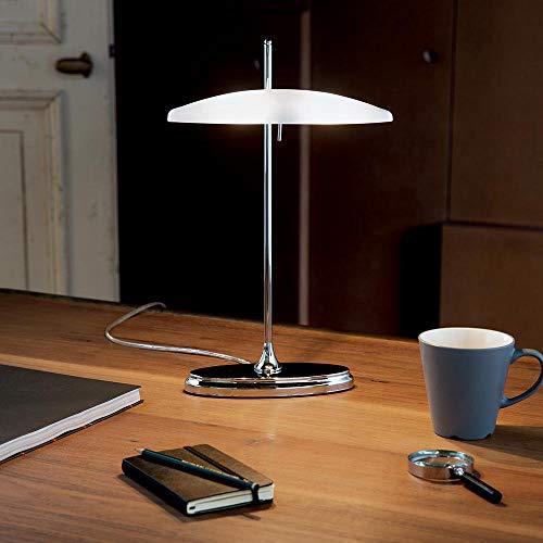 Ideal Lux 10069 Studio Tischleuchte moderne Bankerslamp mit Touchdimmer Chrom Weiss