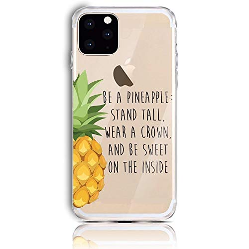 CrazyLemon Hülle für iPhone 12, Soft TPU Flex Silikon Transparent Ultra Dünn Schlank Bumper Handyhülle Premium Kratzfest TPU Schutzhülle - Ananas