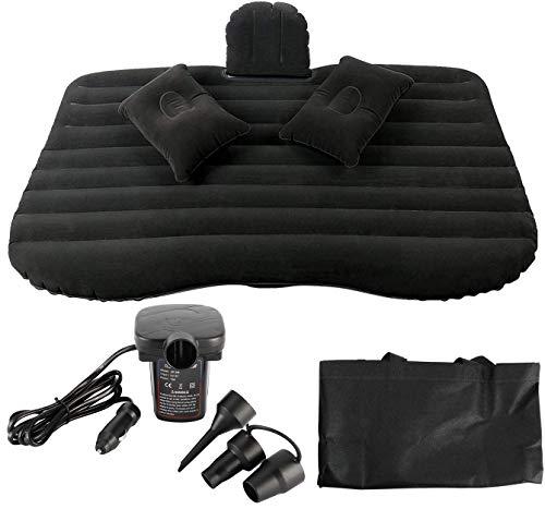 NovelBee Back Flocking Surface Car Travel Inflatable Mattress Air Bed Camping with 2 Air Pillows,Inflatable Pump and Handbag (Black)