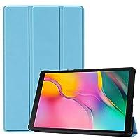 Samsung Galaxy Tab A 10.1 2019 T510 T515タブレットカバー、Galaxy Tab A 10.1 SM-T510 SM-T515 SM-T515 T515C 10.1インチと互換性のある超薄型スリムフォリオスタンドレザーケースに適合 (Light blue)