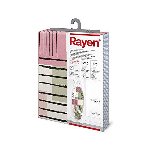 Rayen   Housse pour table à repasser Universelle   4 épaisseurs: mousse, molleton, tissu qualité canevas et titane   Housse à revêtement en titane   Gamme Premium 127x51 cm   Rose et vert