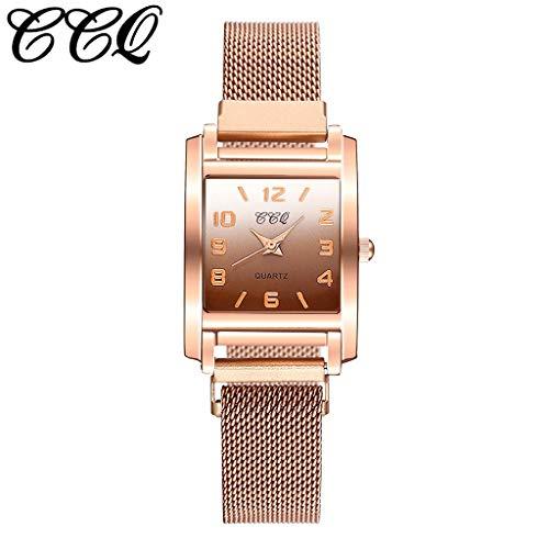 Uhr Armbanduhren Männer Damenuhren Hanseeschlanke Minimalistische Geometrische Quadratische Quarzuhr Aus Mattem Leder Mit Farbverlaufuhren Wrist Watches(F-1)