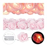 Relaxdays, Rosa Guirnalda de Flores, 20 Luces LED, Iluminación de Bodas, Blanco cálido, 4 x 5 x 340 cm
