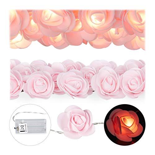 Relaxdays Rosen Lichterkette, 20er LED Lichterkette Batterie, Hochzeit, Verlobung & Valentinstag, warmweiß, Deko, rosa