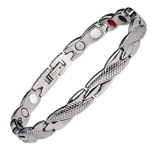 HAIHF Magnetische damesarmbanden, roestvrij staal, gezondheid, sterke magneten, met sieradendoos en gereedschap voor verwijdering