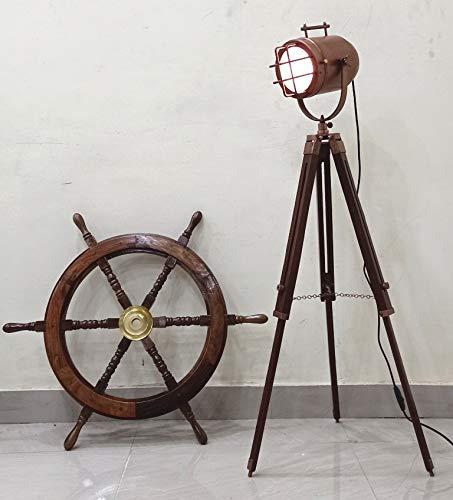 Hermosa lámpara de estudio con forma de punto vintage con trípode de cobre envejecido para decoración del hogar