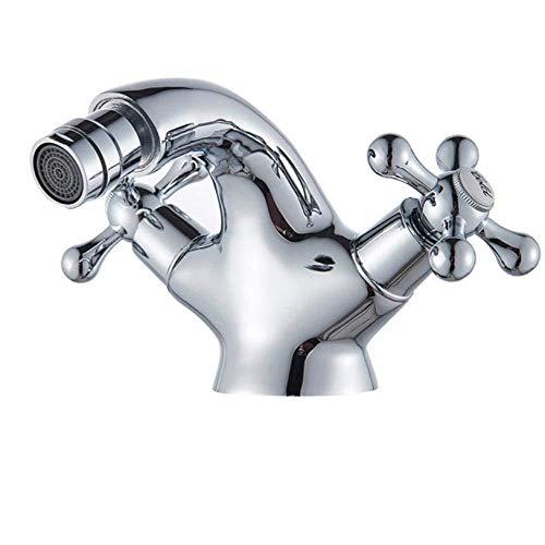 Kraankraan antieke messing Bidet douchebak dubbele kruis handgrepen warm koud water mixer tik lood-vrije tuit toilet waterkraan