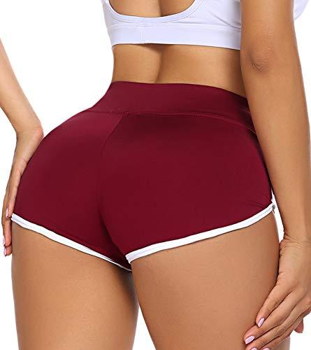 ADOME Kurze Sporthose Damen Sportshorts Enge Yogahose Mini Hotpants Jogginghose Workout Sport Fitness Gym Rot