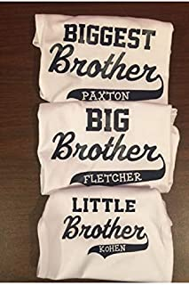 personalized matching brother shirt set Biggest big and little brother with names