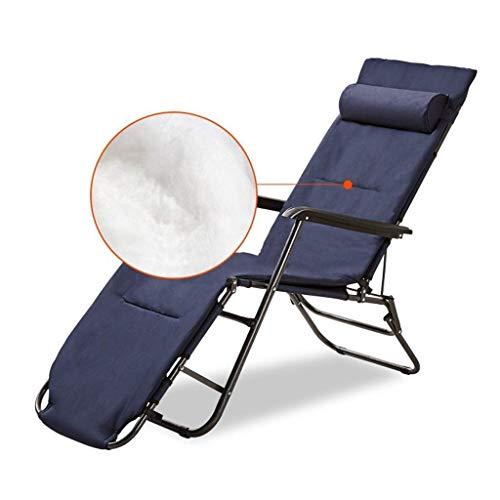 Home Outdoor/verstelbaar Zero Gravity tuinstoelen, kantelbare stoel, ligstoel met katoenen plaat voor binnenplaats, patio, licht, campingstoel Blauw