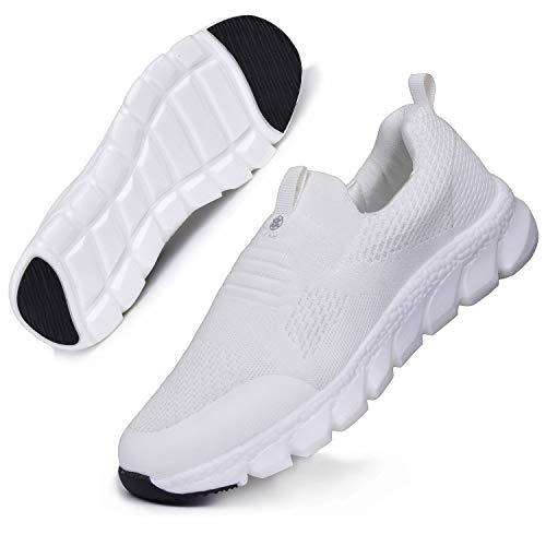 Hsyooes Damen Walkingschuhe Slip On Sneakers Leichte Freizeitschuhe Laufschuhe Atmungsaktiv Turnschuhe Bequem Sportschuhe Gym Outdoor Beige D 41.5EU=Etikettengröße:42