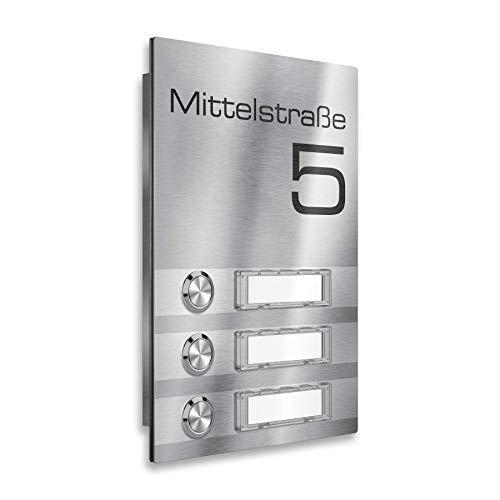 Metzler Mehrfamilien-Funkklingel - 3-fach - Klingelplatte aus Edelstahl - mit austauschbaren Namensschildern - Produktmaße: 156 x 220 mm (3x Steckdosen Empfänger)