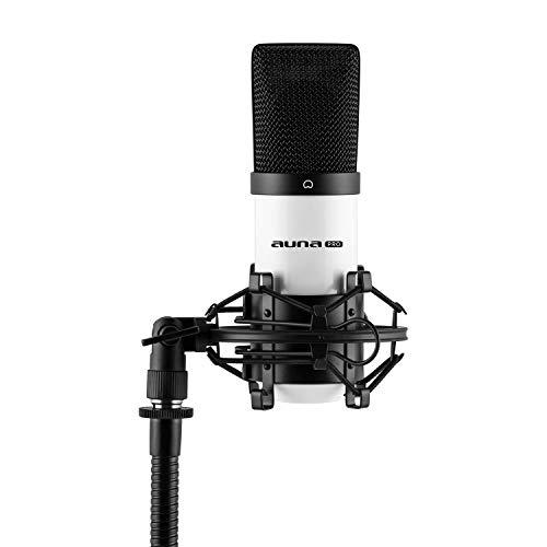 auna MIC-900WH - USB Kondensator-Mikrofon, Nierencharakteristik, Frequenzbereich: 30 Hz - 18 kHz, 16 mm, inkl. Mikrofonspinne mit 3/8