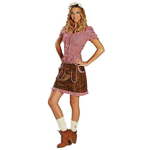 Damen Trachtenrock Gr. 34- 44 Lederoptik braun Oktoberfest Kostüm Rock Bayern (36)