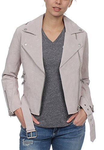 Superdry Lederjacke Damen Piper Suede Biker Light Grey, Größe:L