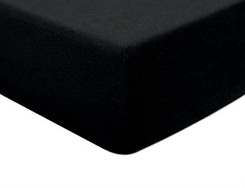 MODHAUS - Lenzuolo con angoli elasticizzati, in spugna, 170-180 x 200 cm, colore: Nero