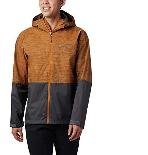 Columbia Men's Roan Mountain Rain Jacket, Burnished Amber Texture Print, Shark, Large