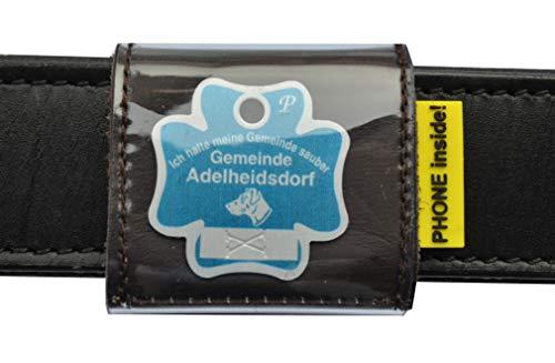 josi.li Halsbandtasche, Nappaleder schadstofffrei,in 3 Farben lieferbar, mit 2 Innenfächern für bis zu 4 Hundemarken, Adresse, Telefonnummer, 50x50mm (Dunkelbraun)