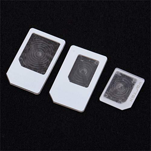 JIE 3 adaptadores para Nano SIM Micro Soporte de Bandeja de Adaptador de Tarjeta estándar para iPhone 5 Blanco