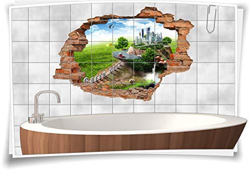Fliesen-Bild Wand-Durchbruch 3D Fliesen-Aufkleber Metropole Wiese Bäume Himmel, 75x50cm, 20x25cm (BxH)