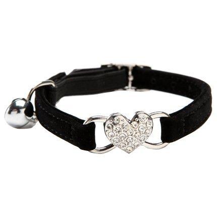 CHUKCHI verstellbares Katzen-Halsband mit Glocke und Herzanhänger mit Kristallsteinen, weicher Samtstoff, sicheres Halsband, 20,3-28 cm