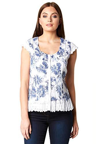 Roman Originals Damen Knitter-Bluse aus Baumwolle mit Blumen-Print und Flügelärmeln - Top lässig Sommer Frühling Reisen Büro Alltag Spitzenbesatz - Blue & White - Größe 42