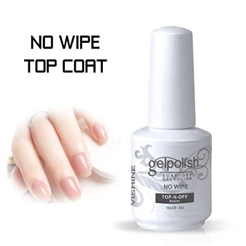 Vishine No Wipe Top Coat Gel Nail Polish Soak Off UV LED Gel Nail Varnish Long lasting Manicure Foundation Sealer 15ml (No Cleanse)