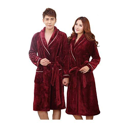 DFJU Albornoces para Hombres y Mujeres, Bata de Franela Larga y Gruesa de otoño, Pijamas de Terciopelo Coral Invierno, cómodos (tamaño: Mujer M)