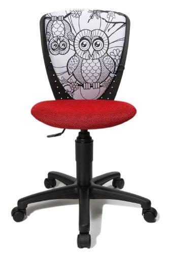Topstar Swap S'cool 70560JF12 Chaise de Bureau pivotante pour Enfant Dossier avec Chouette à colorier Rouge