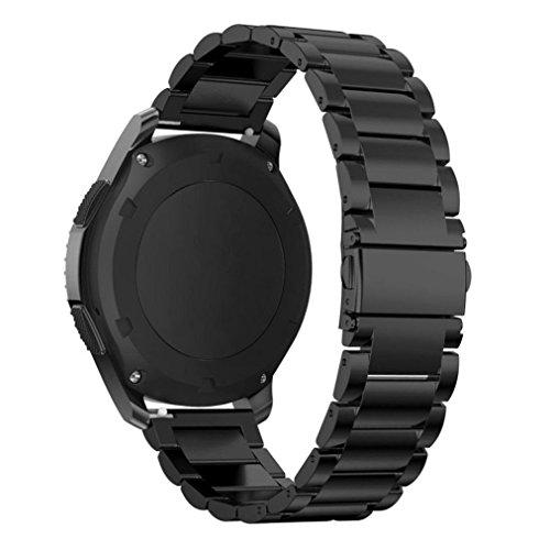 Willingood Gear S3 Ersatz Armband, solides Edelstahl Gliederarmband für Gear S3 Classic & Gear S3 Frontier, mit Faltschliesse (Metall schwarz) [mit Wechsel Kit]