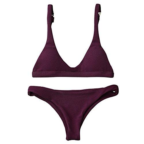 ZAFUL Women Padded Scoop Neck 2 Pieces Push Up Swimsuit Revealing Thong Bikinis V Bottom Style Brazilian Bottom Bra Sets(Merlot S)