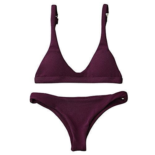 ZAFUL Women Padded Scoop Neck 2 Pieces Push Up Swimsuit Revealing Thong Bikinis V Bottom Style Brazilian Bottom Bra Sets(Merlot S)