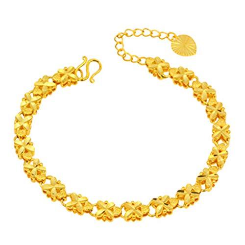 Joyería de arena brazalete de joyería de oro femenina trébol de cuatro hojas explosión novia chapado en oro de aleación de boda pulsera retro